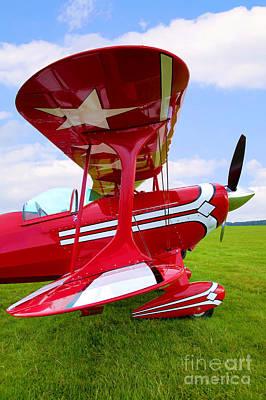 Red Biplane Wing View Print by Richard Thomas