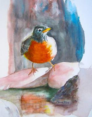 Bird And Worm Painting - Red Breasted Robin by Sharon Mick