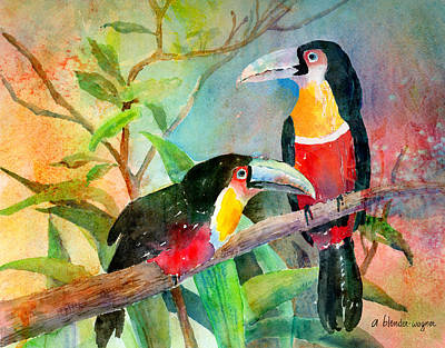Toucan Painting - Red-breasted Toucans by Arline Wagner