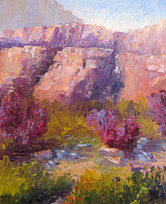 Red Bud Trees Print by Terry  Chacon