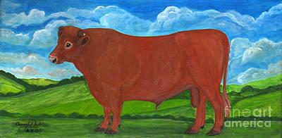 Folkartanna Painting - Red Bull by Anna Folkartanna Maciejewska-Dyba