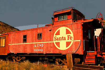 Old Caboose Digital Art - Red Caboose by David Lee Thompson