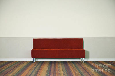Red Couch Against Wall Print by Dave & Les Jacobs
