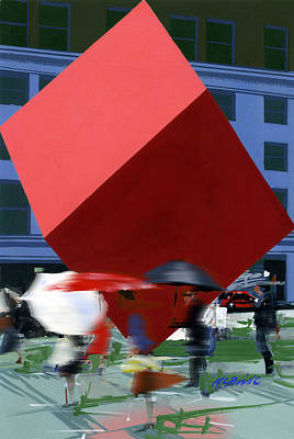 People Painting - Red Cube by Neil McBride