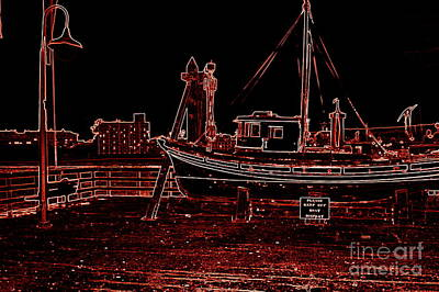 Red Electric Neon Boat On Sc Wharf Print by Garnett  Jaeger
