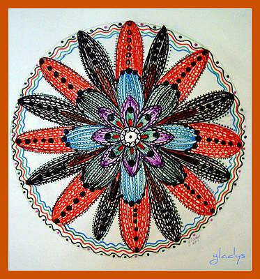 Mandal Drawing - Red Flower Mandala  by Gladys Childers