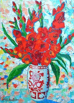 Contemporary Ceramics Painting - Red Gladiolus by Ana Maria Edulescu