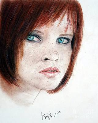 Red Drawing - Red Hair And Freckles by Jim Fitzpatrick