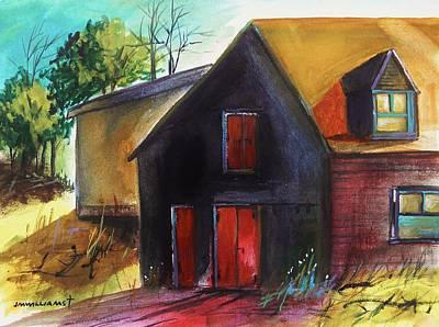 Red Hayloft Door Print by John Williams