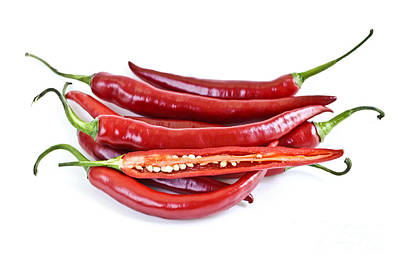 White Background Photograph - Red Hot Chili Peppers by Elena Elisseeva