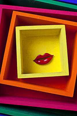 Red Lips In Yellow Box Print by Garry Gay
