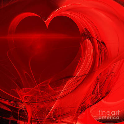 Algorithmic Digital Art - Red Love . Square . A120423.279 by Wingsdomain Art and Photography