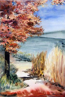 Kristine Painting - Red Maple Trail by Kristine Plum
