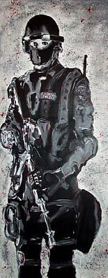 Red Marble Full Length Figure Portrait Of Swat Team Leader Alpha Chicago Police Full Uniform War Gun Original by M Zimmerman MendyZ