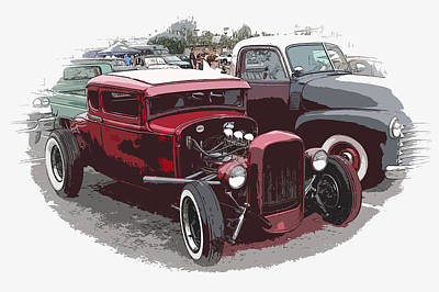 Red Model A Coupe Print by Steve McKinzie