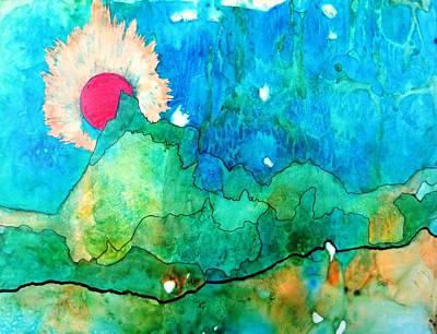 Red Moon Three Original by David Raderstorf