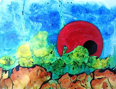Boardroom Mixed Media - Red Moon Two by David Raderstorf