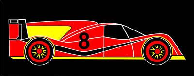 Red Number 8 Racing Car Virtual Car Print by Asbjorn Lonvig