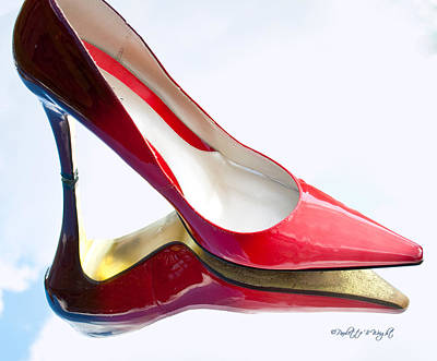 Paulette Wright Digital Art - Red Patent Stilettos by Paulette B Wright