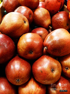 Pear Digital Art - Red Pears by Methune Hively