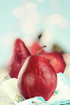 Dreamy Food Photograph - Red Pears by Stephanie Frey