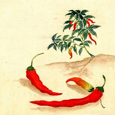 Red Peppers And Plant 1830 Print by Padre Art