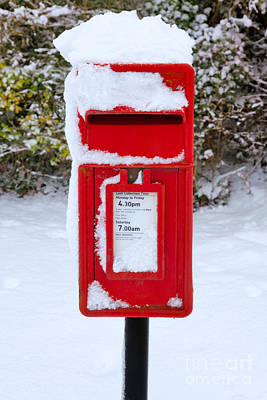 Mail Box Photograph - Red Postbox In The Snow by Richard Thomas