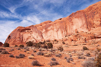 Red Rock And Blue Skies Print by Bob and Nancy Kendrick