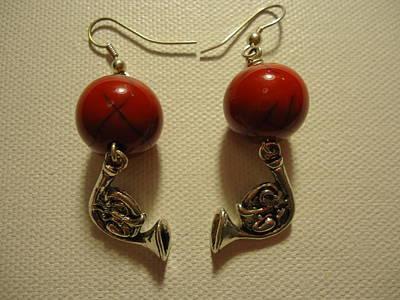 Red Rocker French Horn Earrings Print by Jenna Green