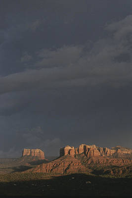 Red Rocks Of Cathedral Rock Lit By Sun Print by Todd Gipstein