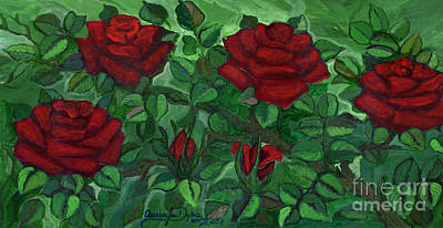 Folkartanna Painting - Red Roses - Horizontal by Anna Folkartanna Maciejewska-Dyba