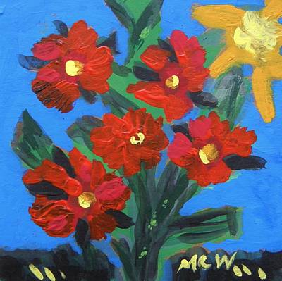 Primitive Drawing - Red Roses And Sunlight by Mary Carol Williams