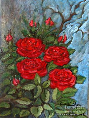 Folkartanna Painting - Red Roses In Old Garden by Anna Folkartanna Maciejewska-Dyba