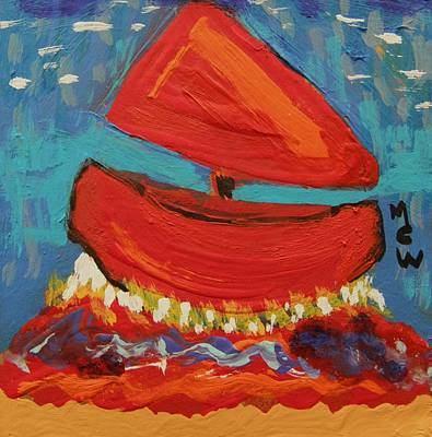 Simplicity Drawing - Red Sail Red Waves by Mary Carol Williams
