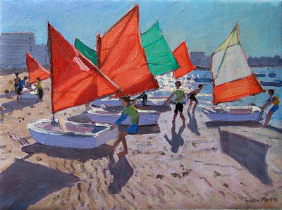 Red Sails Print by Andrew Macara