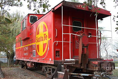 Sante Fe Photograph - Red Sante Fe Caboose Train . 7d10332 by Wingsdomain Art and Photography