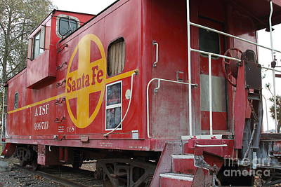Sante Fe Photograph - Red Sante Fe Caboose Train . 7d10334 by Wingsdomain Art and Photography