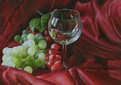 Red Satin And Grapes Print by Carla Kurt