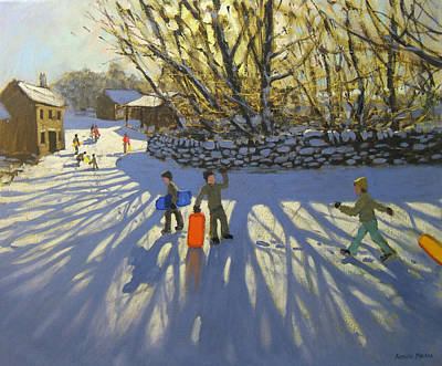 Country Lanes Painting - Red Sledge by Andrew Macara