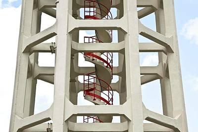 Red Stairway Print by Gerard Hermand