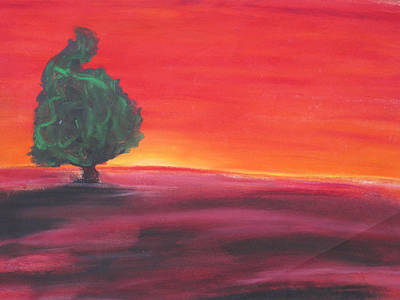 Abstract Drawing - Red Sunset by Casey P