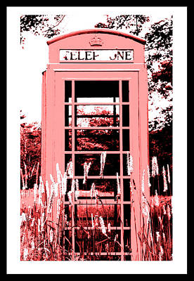 Edgecomb Photograph - Red Telephone Booth In A Field In Maine by Kara Ray