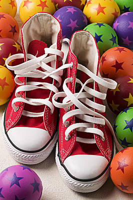Sneakers Photograph - Red Tennis Shoes And Balls by Garry Gay