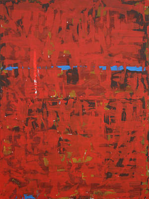 Abstract Painting - Red Terrian - 2 by Amir Abbasi