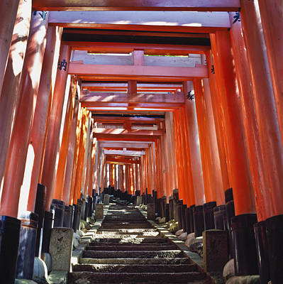Red Torii Arches Over Steps At Inari Print by Axiom Photographic