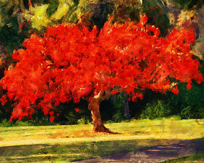 Red Painting - Red Tree by Jai Johnson