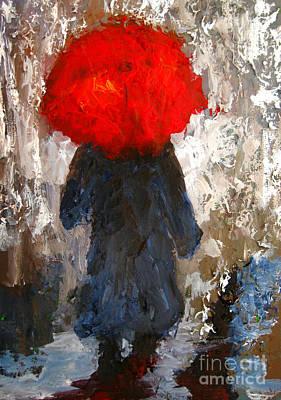 One Stroke Painting - Red Umbrella Under The Rain by Patricia Awapara