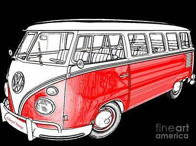 Hippie Van Photograph - Red Volkswagen by Cheryl Young