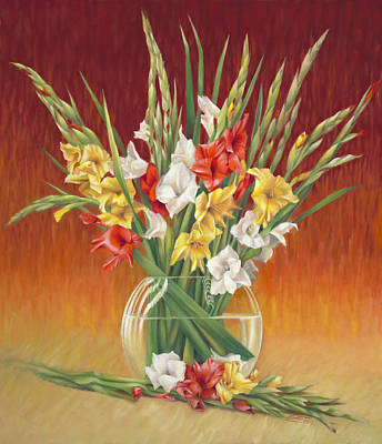 Gladiolus Painting - Red White And Yellow Gladiolus by Nancy Tilles