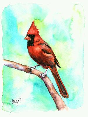 Baseball Painting - Redbird Cardinal by Christy  Freeman